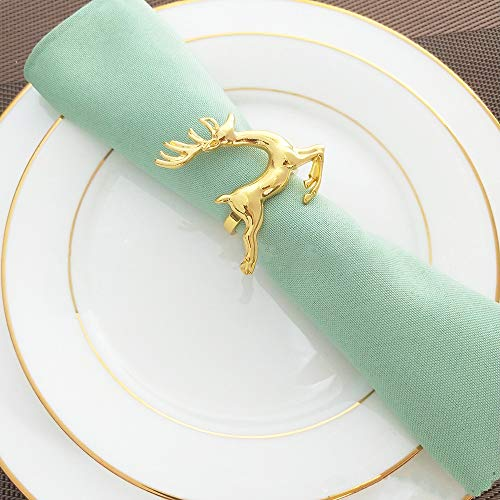 KissDate Napkin Rings, 6Pcs Gold Elk Chic Napkin Rings for Place Settings, Wedding Receptions, Christmas, Thanksgiving and Home Kitchen Dining Table Linen Accessories by KissDate (Image #5)