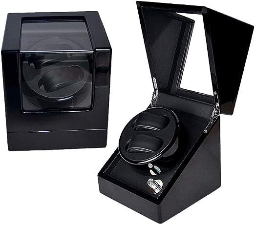 LLF Enrollador Automático para Relojes De Madera Caja De Presentación 2 + 0 Almohada De Cuero/Pintura para Piano/Vidrio Templado/Motor De Japón: Amazon.es: Hogar