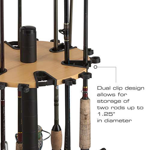 Rush creek creations round spinning 24 fishing rod rack for Fishing rod clips