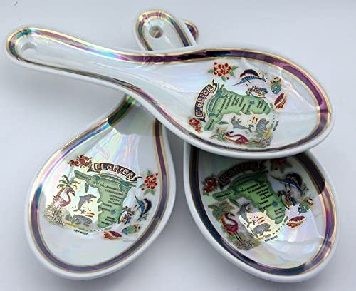 Miami Florida Skyline Map Pearl Souvenir Collectible Spoon Rest agc