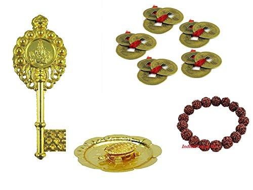 Indianstore4all Combo Of 4 Feng Shui Set Of 15 Lucky Coins   Brass Tortoise In Plate   Kuber Kunji   Rudraksha Bracelet