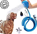 Pet Dog Bathing Cleaning Set Tool Shower Sprayer Kit Pet Bath Brush 2-in-1 Pet Shower Attachment For Bathtub and Outdoor Garden Hose Compatible, For Dog Cat Grooming Cleaning and Massaging