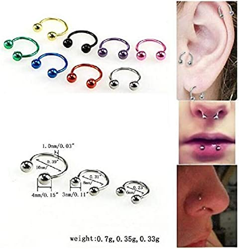 8Pcs Stainless Steel Nose//Lip//Eyebrow Hoop Ring Stud Tragus Bar Piercings