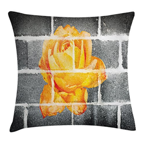 Ambesonne Rustic Flower Throw Pillow Cushion Cover, Trippy Modern Graffiti with Rose Petals on the Brick Wall Urban City Life, Decorative Square Accent Pillow Case, 28 X 28 Inches, Grey Orange (Brick City Furniture Fabrics)
