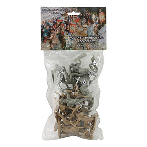 TSSD ANCIENT Roman & Barbarian Soldiers: 16 GRAY & TAN 1:30 Plastic Figures from Toy Soldiers of San Diego