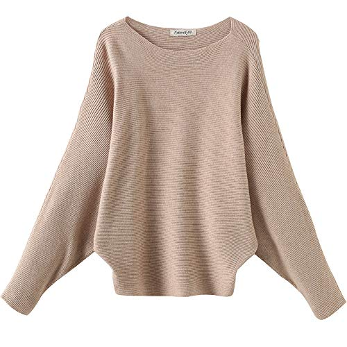 Naturally99 Women's Light Weight Long Dolman Sleeve Batwing Premium Wool Sweater Knit Top (Beige)