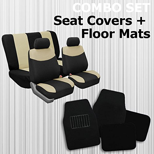 FH GROUP FH-FB056BEIGE112 + F14403 Combo Set: Beige Modern Flat Cloth Seat Covers & Black Floor Mats