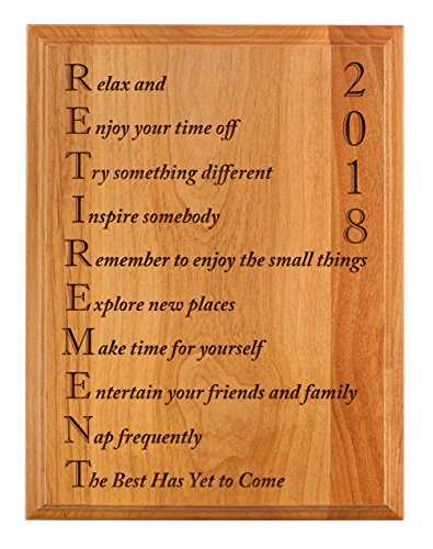 Retirement Gifts for Women or Men Retirement 2018 Retired Poem Retirement Gift Ideas for Coworker 7x9 Oak Wood Engraved Plaque Wood