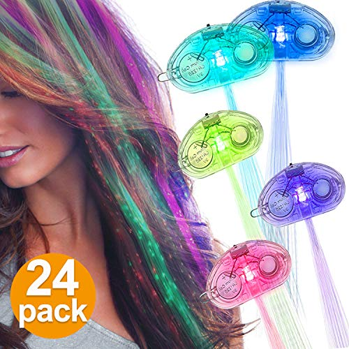 24 Pack LED Lights Hair Braid Flashing LED Light up Toy for Birthday Holiday Boys Girls Multicolor Fiber Optic Hair Lights Bar Dancing Hair Clip Party Favors Hair Accessories Party