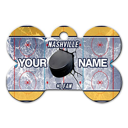 BleuReign(TM) Personalized Custom Name Hockey Team Nashville License Plate Bone Shaped Metal Pet ID Tag with Contact Information