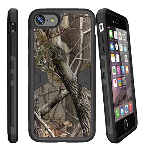 MINITURTLE Case Compatible w/ Apple iPhone 7 Plus Case (5.5), iPhone 7 Plus Belt Case [MAX DEFENSE] Combat Shockguard, Premium Defender Case Hard Shell Silicone Interior and Holster Tree Branch Camo