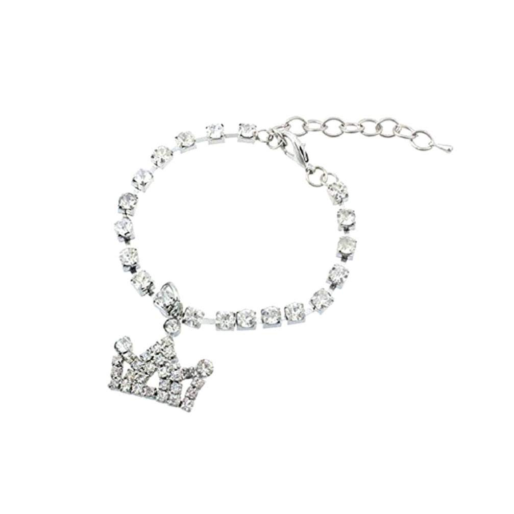 OOEOO Pet Collar Chocker,Mini Pet Dog Bling Rhinestone Chocker Collars Crown Necklace,Dog Necklace (Silver, S)