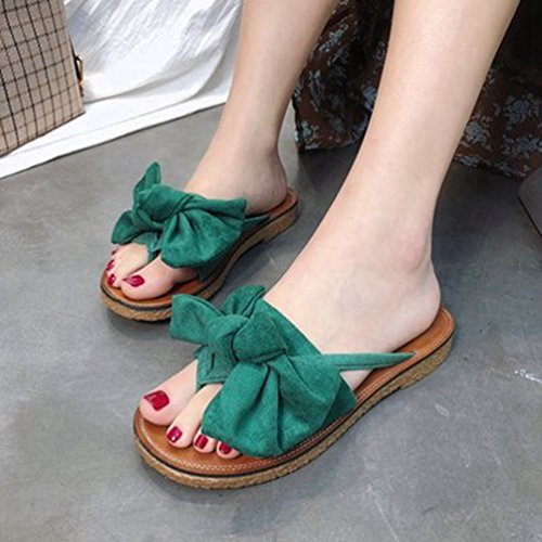 Comodidad Verano Vestido Moda de Planas Mujer de Beach Verde de Sandalias Antideslizante Pantuflas Chanclas Bowtie 0qzUwxg0