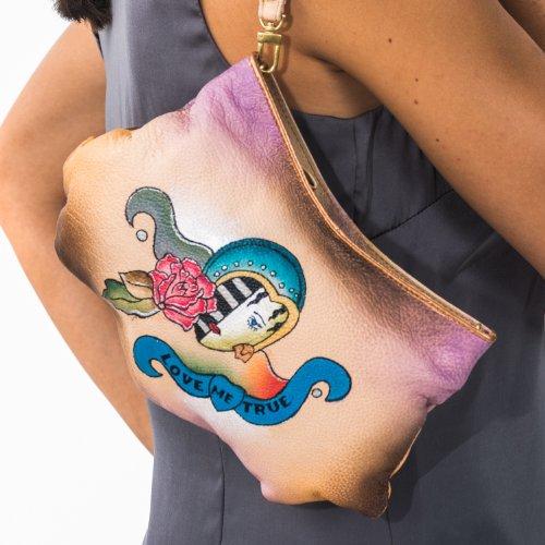 Zimbelmann Lola - Borsetta a tracolla o a mano in vera pelle nappa, dipinta a mano, donna
