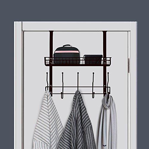 NEX Over-The-Door Hook Shelf Organizer 5 Hooks With Basket Storage Rack, Fit Well At Home & Office, Dark Brown - Doors 5 Shelf