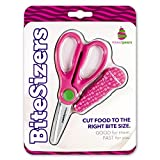 BiteSizers Portable Food Scissors with Cover - Certified Food-Safe by NSF, Stainless Steel, Cuts Baby Food (Pink Bubbles)
