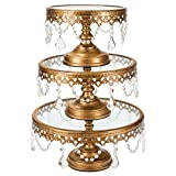 Victoria Antique Gold Cake Stand Set of 3, Round Glass Top Metal Dessert Cupcake Pedestal Wedding Display with Crystals
