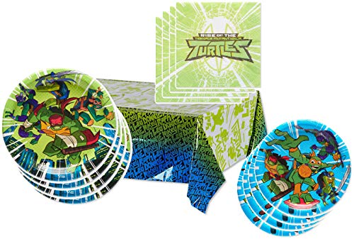 TMNT Party Supplies Tableware Pack for 16 Guests - Includes 16 Dinner Plates, 16 Dessert Plates, 16 Dinner Napkins, and 1 Tablecover, Bundle]()