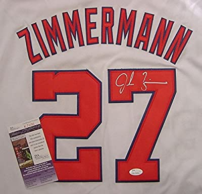 Jordan Zimmermann Washington Nationals Autographed White #27 Jersey JSA COA