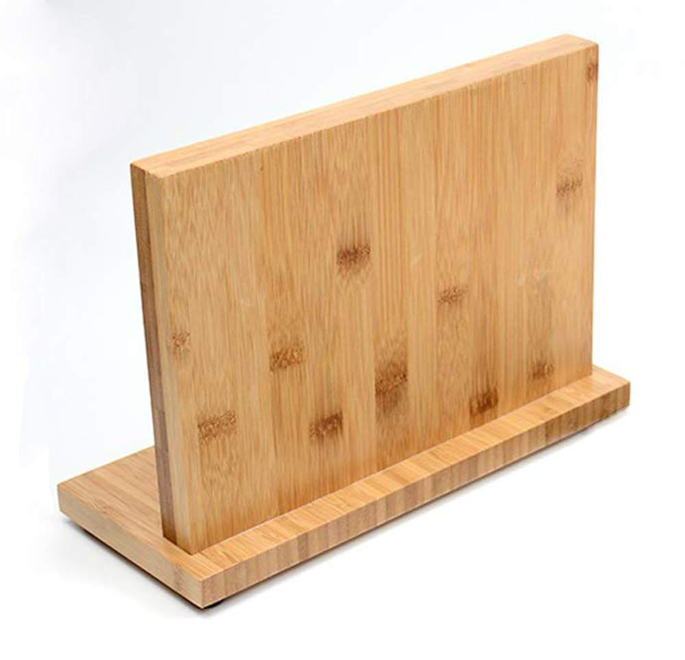 Cookingstar Double Side Super Magnetic,Non-Slip Design Bamboo Wooden Magnetic Knife Holder Bamboo Knife Stand Knife Dock (14.8 inch)