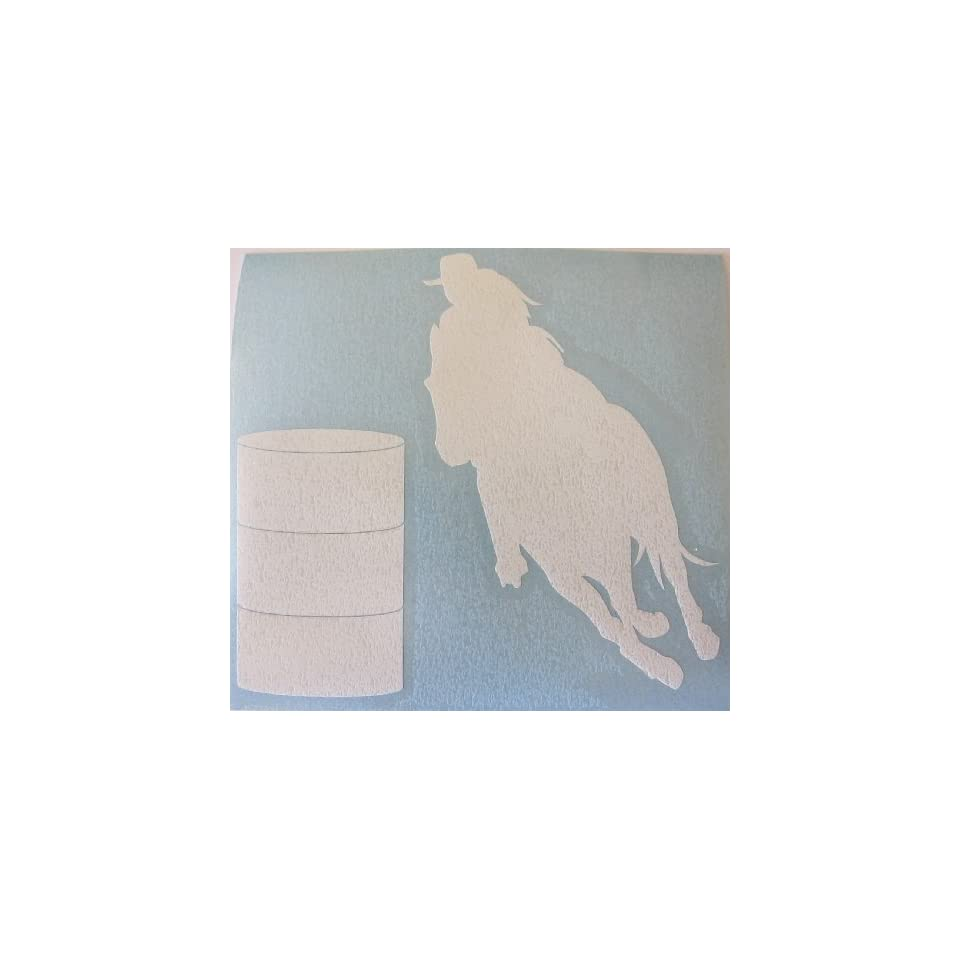 Sm White Barrel Racer Racing Horse Rodeo Cowgirl Decal