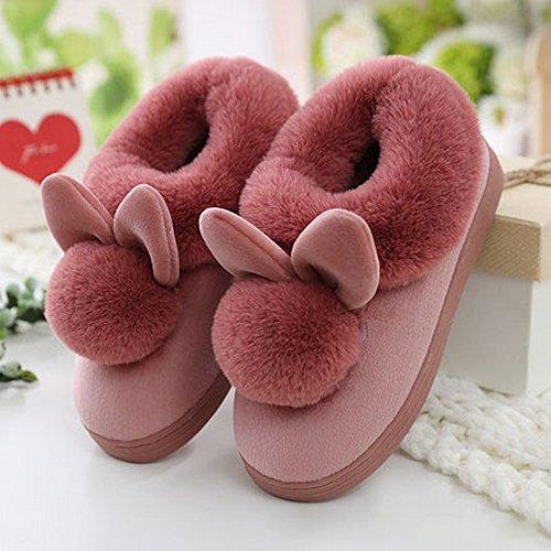 Winter High-Heeled Ball Baumwolle Hausschuhe Weibliche Dicke Rutschfeste Heimtextilien Schuhe,C,38-39