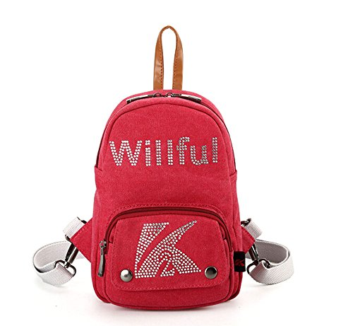 Fancier Girls Cute Travel Canvas Backpack/Crossbody/Tote Bags Red