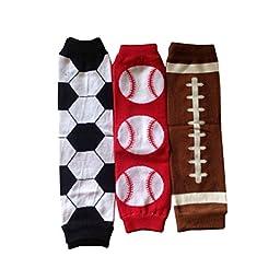 Joyci 3 Pairs Unisex New Football Rugby Baseball Leg Warmers Infant Toddler