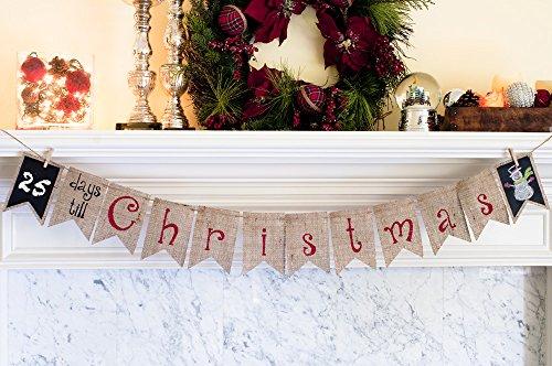 Christmas Decoration, Days Till Christmas Chalkboard Holiday Banner B146 -