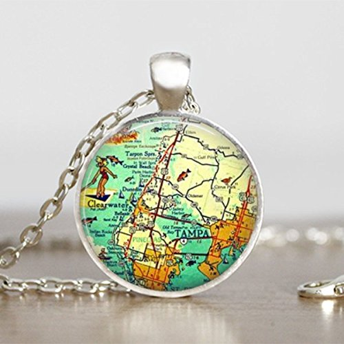 (Vintage Tampa Florida Map Jewelry Pendant)