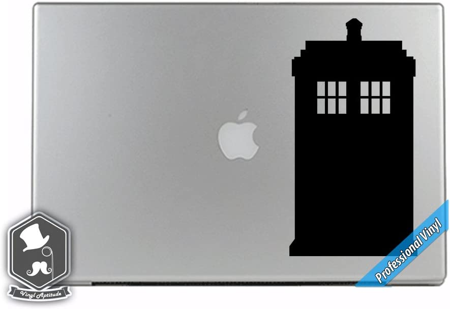 Dr Who TV Show Inspired Tardis Police Phone Box Word Art Vinyl Decal Sticker for Apple MacBook Dell HP Alienware Asus Acer or Any Laptop Notebook PC Computer