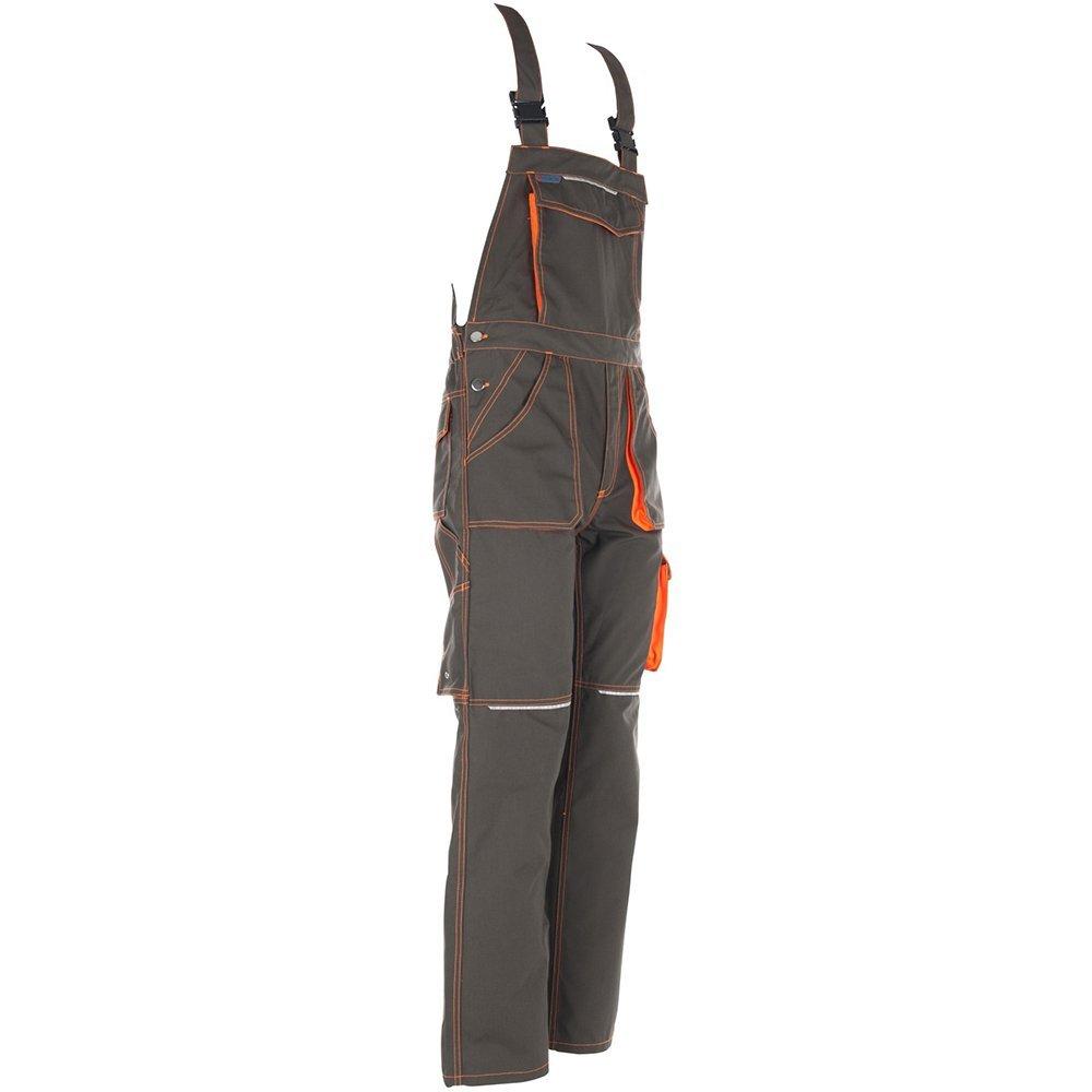 Planam 6232102'Basalt Neon' Dungarees, 102, Olive/Orange