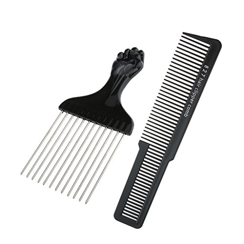 Homyl Salon Barber Hair Styling Set Black Stainless Steel Afro Pick Brush with Hair Cutting Clipper Comb Set