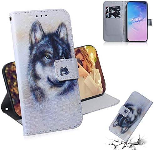 あなたの携帯電話を保護する ギャラクシーS10用ホワイトウルフパターンカラードローイング水平フリップレザーケース、ホルダー&カードスロット&ウォレット付き
