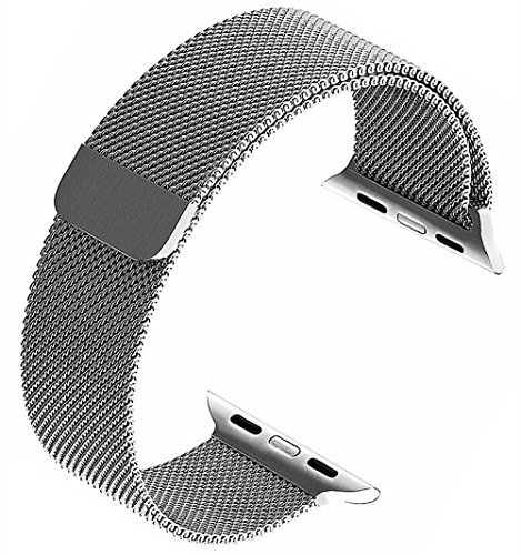 top4cus Double Electroplating Milanese Loop Stainless Steel Replacement iWatch Band with Magnetic Closure Clasp for Apple Watch
