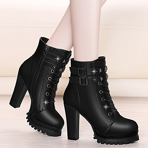 Bottom Winter And Short Black New In With Martin KPHY Waterproof Boots Thick Shoes Heel Autumn Boots Boots wXPqSAx