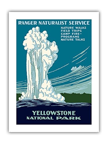 Yellowstone National Park - Old Faithful Geyser - Ranger Naturalist Service - Vintage World Travel Poster by Work Projects Administration (WPA) c.1938 - Premium 290gsm Giclée Art Print 12in x 16in