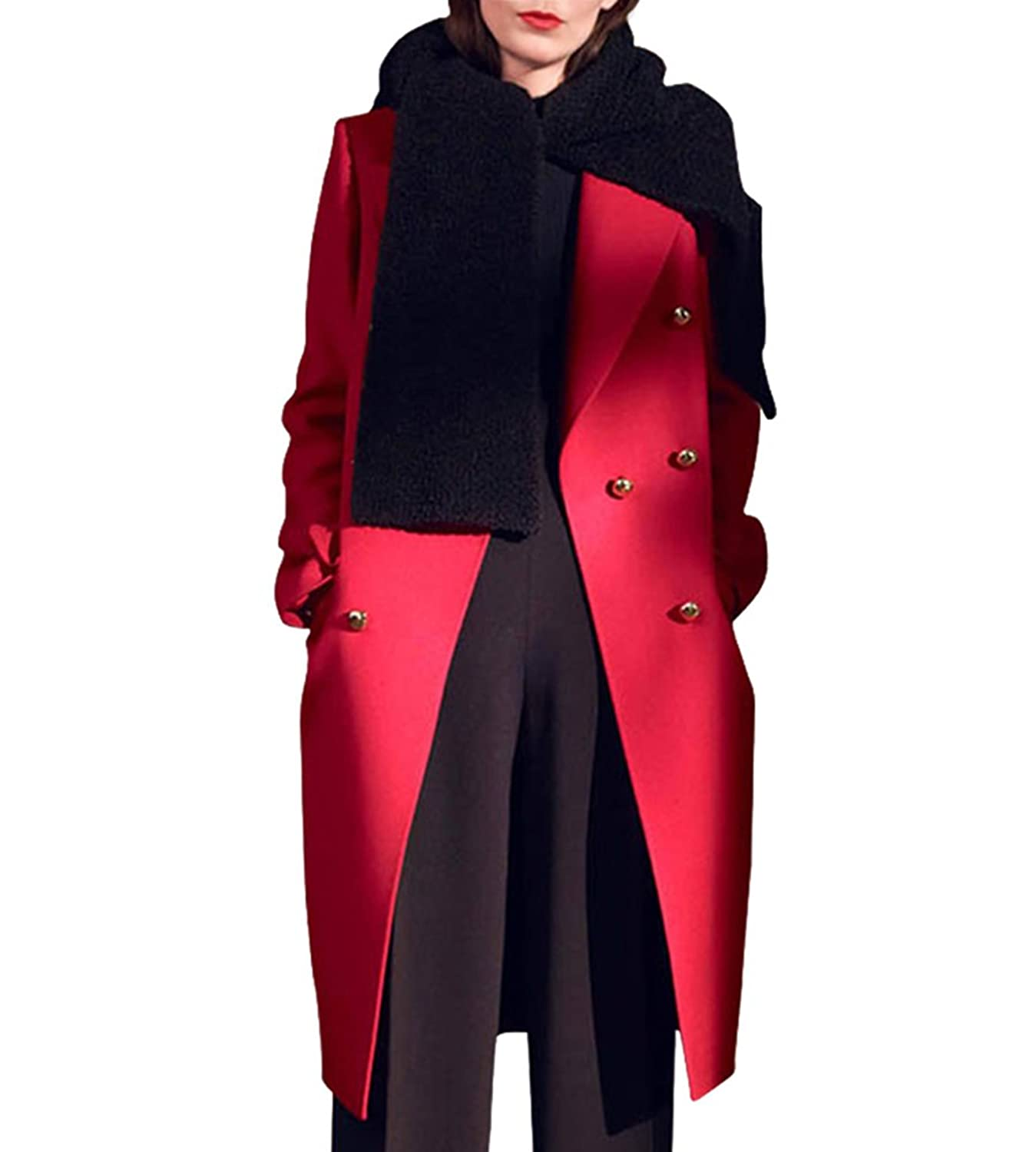 Hego Women's 2016 Winter Red Double Breasted Long Wool Coat H3233