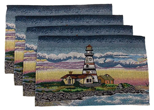 (Hickoryville Placemat Bundle - Set of 4 Lighthouse Themed Placemats 13