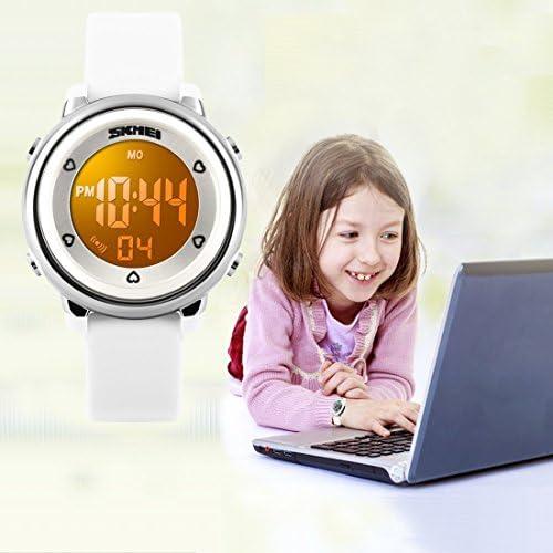 子供腕時計マルチファンクション50M防水スポーツLEDアラームストップウォッチデジタル子腕時計for Boy Girl ホワイト