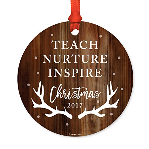Andaz Press Custom Year Teacher Metal Christmas Ornament, Teach Love Inspire Thank You for All You Do Christmas 2019, Rustic Wood with Deer Antlers, 1-Pack, Includes Ribbon and Gift Bag ...