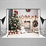 7x5ft Kate Christmas Backdrop For Photography White Brick Fireplace Bear Christmas Tree Santa Backgrounds For Studio For Kids