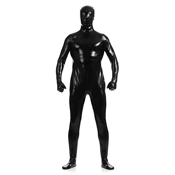 IWEMEK Men Leather Jumpsuit Metallic Latex Wet Look Catsuit Long Full Cover  Bodysuit Leotard Shiny Zipper Clubwear Leather Nightwear Adults Zentai  Cosplay ... c88b70911de1
