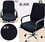 Shihualine(TM) Office Slipcovers Cloth Chair pads Removable Cover stretch cushion Resilient Fabric Black (Size L)