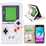 UrSpeedtekLive J3 Case, Galaxy J3 V Case, Express Prime Case, Premium PU Leather Funny Case Flip Wallet Cover with Card Slots & Stand for Samsung Galaxy J3 (2016), Gameboy