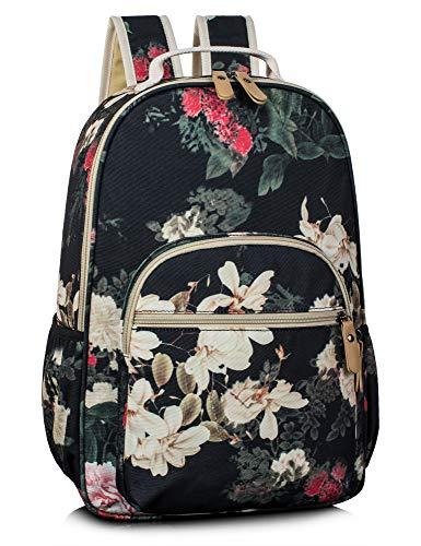 Leaper Retro School Backpack for Girls Travel Bag Bookbag Satchel Greyish-Black