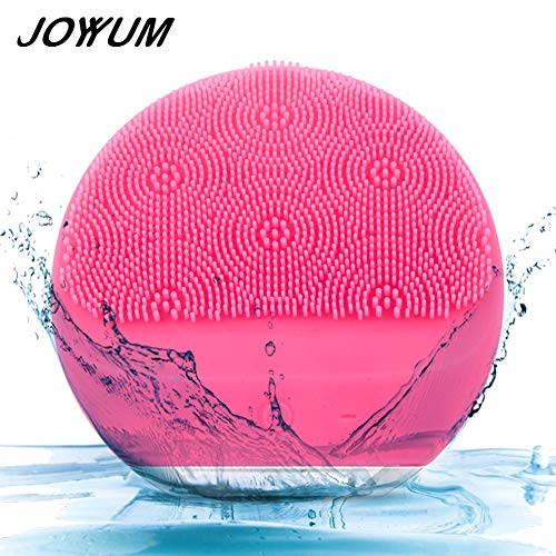 JOYYUM Sonic Facial Cleansing Brush Massager, Silicone Electric Face Cleanser Gentle Exfoliating Scrubber for Normal, Sensitive, Combination Skin, IPX7 Waterproof, USB Rechargeable, Rasberry Rose (Best Sonic Face Cleanser)