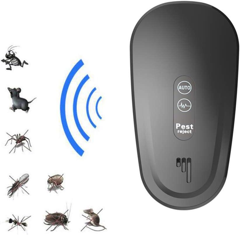 Repelente De Plagas Ultrasónico Control De Plagas Enchufable Natural Electromagnético Interior, Elimina Todo Tipo De Insectos Y Roedores, 100% Seguro Para Humanos Y Mascotas,Negro