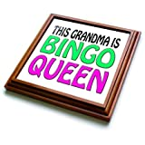EvaDane - Funny Quotes - This grandma is bingo queen, Hot pink, Lime green, - 8x8 Trivet with 6x6 ceramic tile (trv_149771_1)