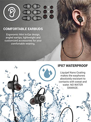 Diginex Bluetooth Earbuds Wireless Magnetic Headset Sport Earphones for Running IPX7 Waterproof Headphones 9 Hours Playtime High Fidelity Stereo Sound and Noise Cancelling Mic 1 Hour Recharge – Black by Diginex (Image #3)